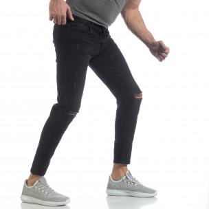 Ανδρικό μαύρο τζιν Slim fit ελαστικό μοντέλο