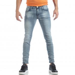 Ανδρικό γαλάζιο Washed Slim Jeans τζιν  2