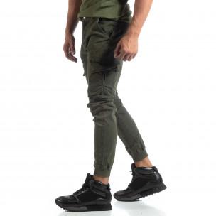 Ανδρικό πράσινο παντελόνι Cargo στο κάτω μέρος με λάστιχο