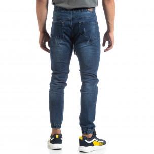 Ανδρικό μπλέ Jogger Jeans σε ροκ στυλ 2