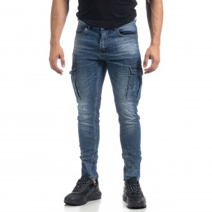 Ανδρικό μπλε τσαλακωμένο Cargo jean Slim fit   2