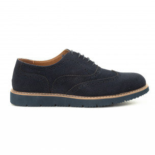 Casual ανδρικά μπλε σουέτ παπούτσια Wingtip