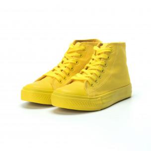 Γυναικεία κίτρινα ψηλά sneakers  2