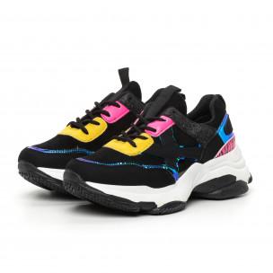 Γυναικεία Chunky αθλητικά παπούτσια μαύρα με λεπτομέρειες Mix 2