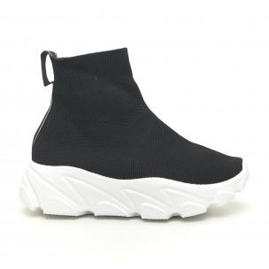 Γυναικεία μαύρα αθλητικά παπούτσια τύπου κάλτσα με λευκή σόλα