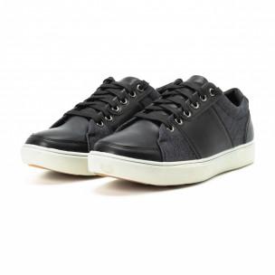 Ανδρικά μαύρα sneakers από δερματίνη και τζιν  2