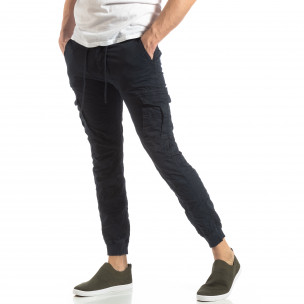 Ανδρικό σκούρο μπλε παντελόνι cargo με κορδόνια