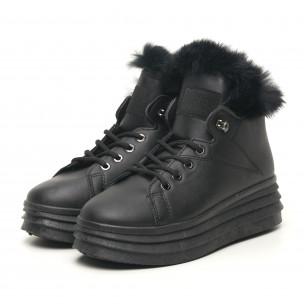 Γυναικεία μαύρα μποτάκια τύπου sneakers με γούνα 2