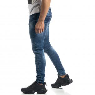 Ανδρικό γαλάζιο τζιν Vintage style Slim fit