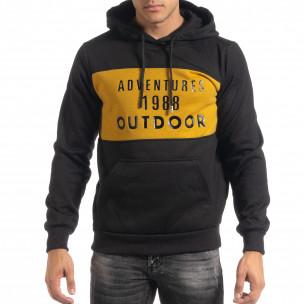 Ανδρικό φούτερ hoodie με κίτρινη λεπτομέρεια  2