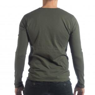 Ανδρική χακί μπλούζα V-neck 2