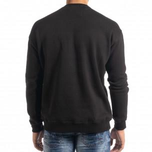 Ανδρική μαύρη μπλούζα τύπου φούτερ  2