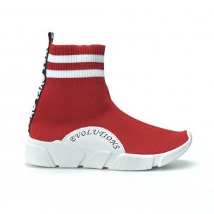Γυναικεία κόκκινα ψηλά sneakers καλτσάκι  2