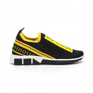 Slip-on ανδρικά μαύρα αθλητικά παπούτσια με κίτρινη ρίγα 2