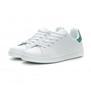 Ανδρικά Basic λευκά sneakers με πράσινη λεπτομέρεια  2