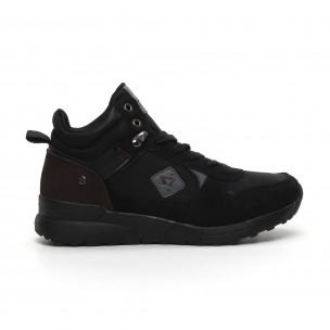 Ανδρικά μαύρα αθλητικά μποτάκια τύπου sneakers  2
