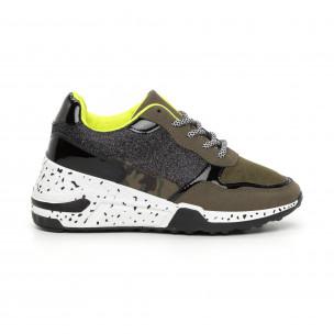 Γυναικεία πράσινα αθλητικά παπούτσια με λεπτομέρειες Mix