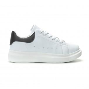 Ανδρικά λευκά sneakers με μαύρη λεπτομέρεια FM