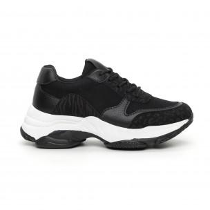 Γυναικεία μαύρα αθλητικά παπούτσια με χοντρή σόλα