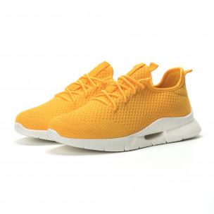 Ανδρικά κίτρινα αθλητικά παπούτσια Hole design ελαφρύ μοντέλο 2
