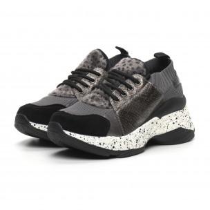 Γυναικεία γκρι αθλητικά παπούτσια Patchwork design Janessa 2
