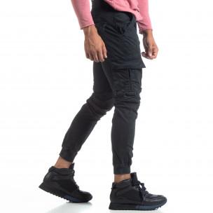 Ανδρικό μαύρο παντελόνι Cargo στο κάτω μέρος με λάστιχο