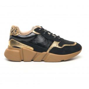 Γυναικεία μαύρα και χρυσά αθλητικά παπούτσια ελαφρύ μοντέλο  2