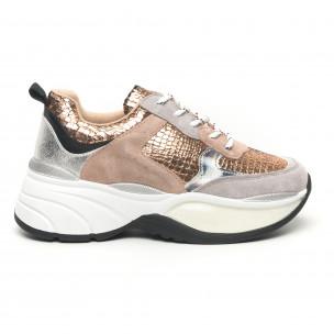 Γυναικεία χρυσά αθλητικά παπούτσια με χοντρή σόλα Shagreen design