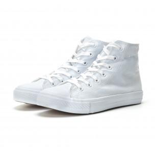 Ανδρικά λευκά ψηλά sneakers κλασικό μοντέλο  2