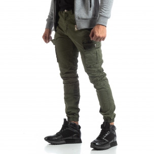 Ανδρικό πράσινο παντελόνι σε ροκ στυλ με Cargo τσέπες