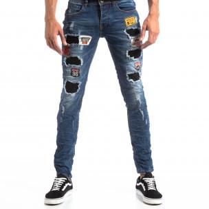 Ανδρικό μπλε τζιν Slim Jeans με διακοσμητικά μπαλώματα