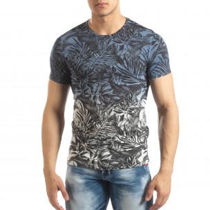 Ανδρική μπλε κοντομάνικη μπλούζα Leaves μοτίβο  2
