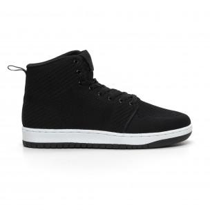Ανδρικά ψηλά μαύρα υφασμάτινα sneakers ελαφρύ μοντέλο