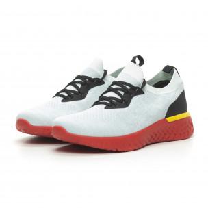 Ανδρικά γκρι μελάνζ αθλητικά παπούτσια με κόκκινη σόλα  2