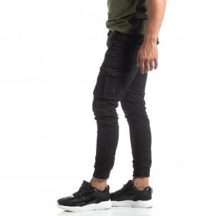 Ανδρικό μαύρο παντελόνι cargo τσαλακωμένο μοντέλο