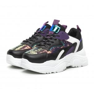 Γυναικεία μαύρα αθλητικά παπούτσια με μωβ λεπτομέρειες 2
