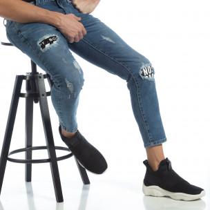 Ανδρικό γαλάζιο τζιν με μπαλώματα