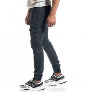 Ανδρικό γκρι cargo παντελόνι σε ροκ στυλ