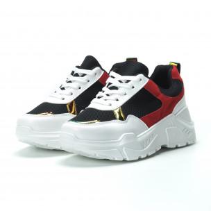 Γυναικεία κόκκινα- μαύρα sneakers με πλατφόρμα  2