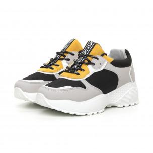 Γυναικεία αθλητικά παπούτσια σε γκρι και κίτρινο ελαφρύ μοντέλο  2
