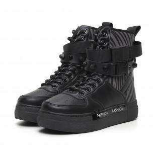 Γυναικεία μαύρα αθλητικά μποτάκια τύπου sneakers Fashion&Bella 2