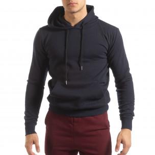 Ανδρικό σκούρο μπλε φούτερ Basic με τσέπη καγκουρό 2