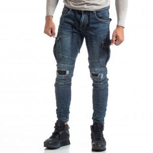 Ανδρικό γαλάζιο Cargo Jeans σε ροκ στυλ  2