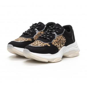 Γυναικεία Chunky αθλητικά παπούτσια σε μαύρο και λεοπάρ 2