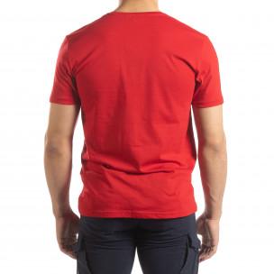 Ανδρική κόκκινη κοντομάνικη μπλούζα με πριντ  2