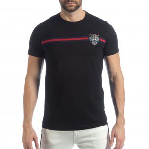 Ανδρική μαύρη κοντομάνικη μπλούζα με κέντημα  2
