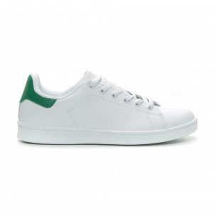 Ανδρικά Basic λευκά sneakers με πράσινη λεπτομέρεια