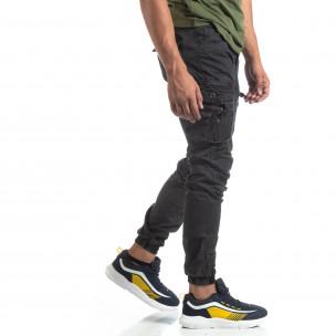 Ανδρικό μαύρο παντελόνι με φερμουάρ στις τσέπες