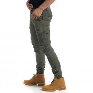 Ανδρικό πράσινο cargo παντελόνι με φερμουάρ