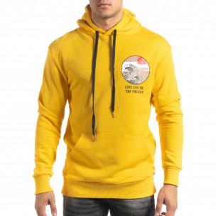Βαμβακερό φούτερ κίτρινο με πριντ στην πλάτη